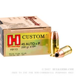 200 Rounds of .45 ACP +P Ammo by Hornady Custom - 200gr XTP JHP