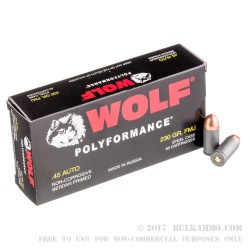 50 Rounds of .45 ACP Ammo by Wolf - 230gr FMJ