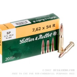 20 Rounds of 7.62x54r Ammo by Sellier & Bellot - 180gr SP