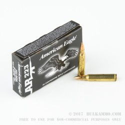20 Rounds of .223 Ammo by Federal American Eagle - 55gr FMJBT