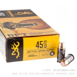 50 Rounds of .45 ACP Ammo by Browning BPT - 230gr FMJ