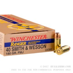 50 Rounds of .40 S&W Ammo by Winchester Ranger - 180gr FMJ