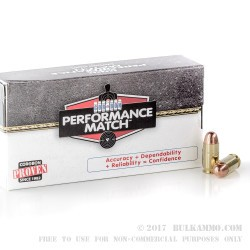 50 Rounds of .45 ACP Ammo by Corbon Performance Match - 230gr FMJ