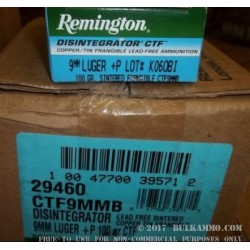 50 Rounds of 9mm +P Disintegrator Ammo by Remington - 100gr Frangible