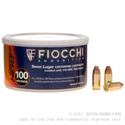 100 Rounds of 9mm Canned Heat Ammo by Fiocchi - 115gr FMJ