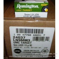 50 Rounds of 9mm Nickel Plated Ammo by Remington - 115gr MC
