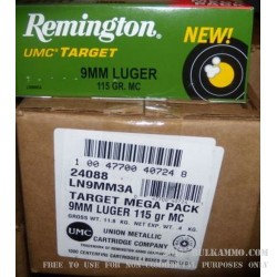 250 Rounds of 9mm Nickel Plated Ammo by Remington - 115gr MC