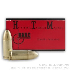50 Rounds of 9mm Remanufactured Ammo by BVAC - 124gr FMJ
