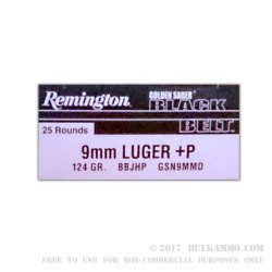 25 Rounds of 9mm +P Ammo by Remington - 124gr JHP