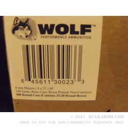 20 Rounds of 8 mm Mauser Ammo by Wolf - 196gr SP
