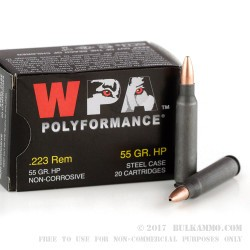 20 Rounds of .223 Ammo by Wolf - 55gr HP