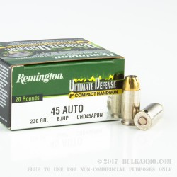 20 Rounds of .45 ACP Ammo by Remington - 230gr JHP