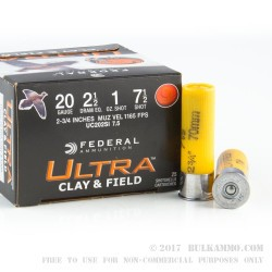 250 Rounds of 20ga Ammo by Federal - 1 ounce #7 1/2 shot