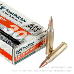 1200 Rounds of 5.56x45 Ammo by Guardian Ammunition - 62gr FMJ