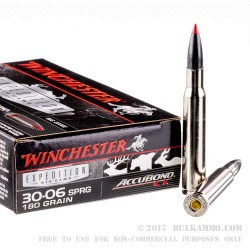 20 Rounds of 30-06 Springfield Ammo by Winchester AccuBond CT - 180gr Polymer Tipped