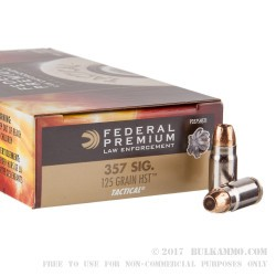 50 Rounds of .357 SIG Ammo by Federal LE - 125gr JHP HST