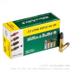 50 Rounds of .22 LR Ammo by Sellier & Bellot - 38gr HP
