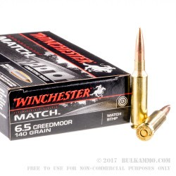 20 Rounds of 6.5 mm Creedmoor Ammo by Winchester - 140gr HPBT
