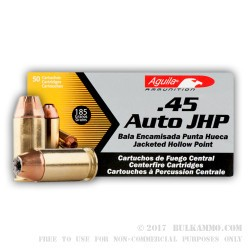 50 Rounds of .45 ACP Ammo by Aguila - 185gr JHP