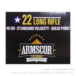 500  Rounds of .22 LR Ammo by Armscor - 40gr LS