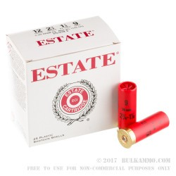 250 Rounds of 12ga Ammo by Estate Cartridge - 2 3/4 1 1/8 ounce #9 shot