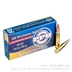 500  Rounds of .308 Win Ammo by Prvi Partizan - 170gr HPBT