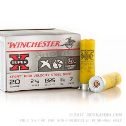 """25 Rounds of 20ga Ammo by Winchester Super-X - 2-3/4"""" 3/4 ounce #7 Shot (Steel)"""