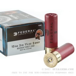 10 Rounds of 12ga Ammo by Federal - 1-7/8 ounce #5 shot Turkey Load