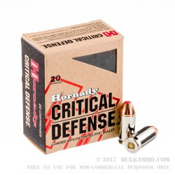 200 Rounds of .45 ACP Ammo by Hornady Critical Defense - 185gr JHP