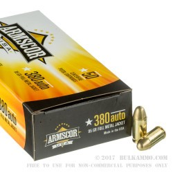 1000 Rounds of .380 ACP Ammo by Armscor - 95gr FMJ