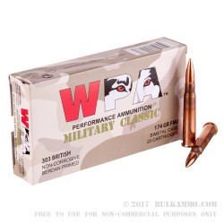 280 Rounds of .303 British Ammo by Wolf WPA - 174gr FMJ