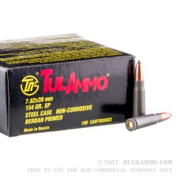 100 Rounds of 7.62x39mm Ammo by Tula - 154gr Soft Point