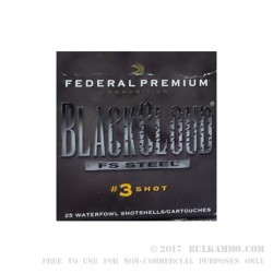 "25 Rounds of 12ga Ammo by Federal Black Cloud FS Steel - 2-3/4"" 1 ounce #3 Shot"