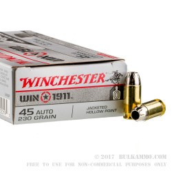 45 ACP - 230 Grain JHP - Winchester Win 1911 - 500 Rounds