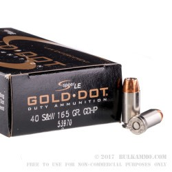 50 Rounds of .40 S&W Ammo by Speer Gold Dot LE - 165gr JHP