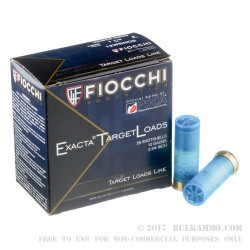 25 Rounds of 12ga White Rhino Ammo by Fiocchi - 1 1/8 ounce #8 shot
