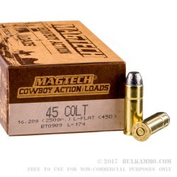 50 Rounds of .45 Long-Colt Ammo by Magtech - 250gr LFN