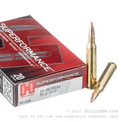 20 Rounds of 25-06 Remington Ammo by Hornady - 90gr GMX