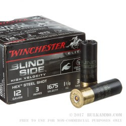 "25 Rounds of 12ga Ammo by Winchester Blind Side - 3"" 1 1/8 ounce #3 Shot"