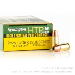 500  Rounds of 9mm Ammo by Remington - 147gr JHP