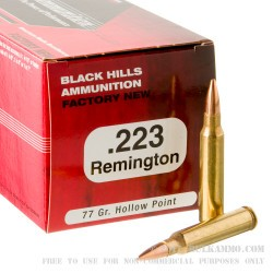 50 Rounds of .223 Ammo by Black Hills Ammunition - 77gr Sierra MatchKing HP