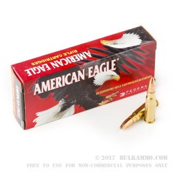 20 Rounds of 7.62x39mm Ammo by Federal - 124gr FMJ