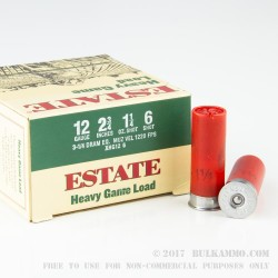 """250 Rounds of 12ga Ammo by Estate Cartridge Heavy Game - 2 3/4"""" 1 1/4 ounce #6 shot"""
