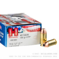 20 Rounds of .40 S&W Ammo by Hornady American Gunner - 180gr JHP