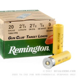 250 Rounds of 20ga Ammo by Remington Gun Club - 7/8 ounce #9 shot