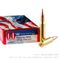 20 Rounds of 7mm-08 Ammo by Hornady American Whitetail - 139gr InterLock SP