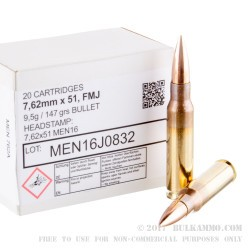 20 Rounds of 7.62x51mm Ammo by MEN - 147gr FMJ