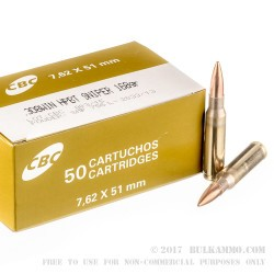 50 Rounds of .308 Win Ammo by Magtech Sniper Match - 168gr HPBT