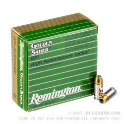 500  Rounds of .380 ACP Ammo by Remington Golden Saber - 102 gr JHP