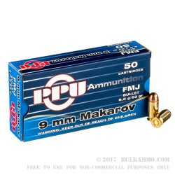 1000 Rounds of 9x18mm Makarov Ammo by Prvi Partizan - 93gr FMJ